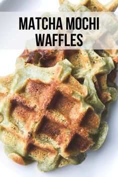 Mochi waffles recipe with matcha. These waffles are gluten free and can be dairy free as well! Mochi Waffle Recipe, Mochi Recipe, Waffle Recipes, Tea Recipes, Sweet Recipes, Baking Recipes, Sushi Recipes, Crepe Recipes, Asian Desserts