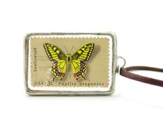 Butterfly Postage Stamp Necklace with 1977 Swallowtail butterfly stamp