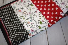 Modern Baby quilt, baby blanket, girl, boutique, designer, pink, black, floral, ladybug, polka dot, infant, crib bedding, nursery, shower by OliveCottageQuilts on Etsy