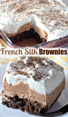 Great Desserts, Delicious Desserts, Yummy Food, Brownie Recipes, Cake Recipes, Dessert Recipes, Dessert Ideas, Chocolate Banana Bread, Silk Chocolate
