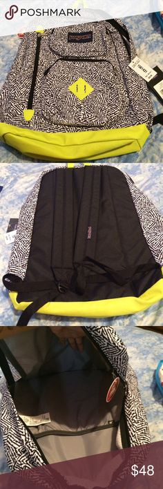 """Yellow and Black Backpack Price of backpack 59.99 Can fit 15"""" laptop Big pocket Two small pockets and one side zipper Bags Backpacks"""