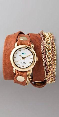 La Mer Collections Arizona Tobacco Multi Chain Wrap Watch