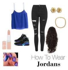 """how to wear jordans"" by lovetobshishi on Polyvore featuring Topshop, Jordan Brand, H&M and Rimmel"