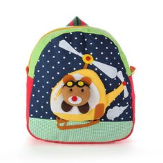 Handmade Cotton Baby Bag 3D Cartoons Helicopter Backpack