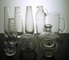 Detailed image of On hold - Bengt Orup art glass set of 10 pieces (+ bonus piece) for Johansfors Detailed Image, Vintage Ceramic, Household Items, Vintage Designs, Scandinavian, Glass Art, Plastic, Vase, Ceramics