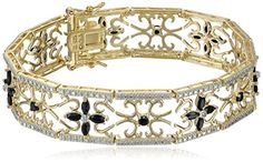 Yellow Gold Plated Sterling Silver Sapphire and Diamond Accent Flower Bracelet - http://www.womansindex.com/yellow-gold-plated-sterling-silver-sapphire-and-diamond-accent-flower-bracelet/
