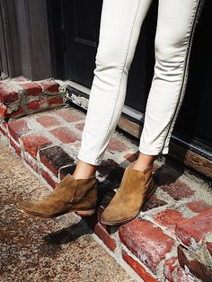 suede distressed slip-on ankle boots