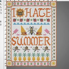 I Hate Summer Counted Cross Stitch Sampler - Pattern Download