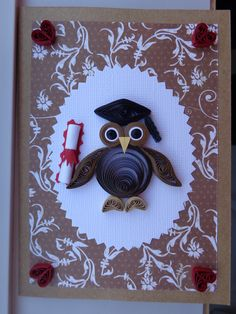 Quilled Owl Graduation Card by Karen Miniaci. Quilling Supplies from 'Quilled Creations'