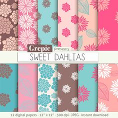 "Flower digital paper: ""SWEET DAHLIAS"" clip art pink floral patterns nature, dahlias paper leaves with dahlia flowers backgrounds, pink blue #patterns #grepic"