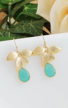 Gold flower with mint opal glass drop gold filled earrings from EarringsNation Mint and gold weddings mint + gold weddings