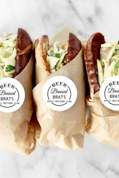 to host a beer tasting party: Tips, beers & menu suggestions. Beer Braised Brats with Apple Mustard Slaw is the beer tasting party dish that will leave a lasting impression on guests. Sandwich Packaging, Beer Tasting Parties, Sandwich Shops, Deli Sandwiches, Sandwich Recipes, Party Dishes, Food Packaging Design, Packaging Ideas, Bottle Packaging
