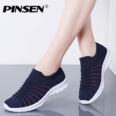 PINSEN Sneakers Women Flats Shoes Summer Breathable Flying Weaving Casual Shoes Woman Slip-on creepers moccasins Ladies Shoes Outfit Accessories From Touchy Style | Black, Blue, Casual Shoes, Fabric, Flat, Gray. | Free International Shipping.