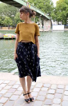 mustard top, midi skirt, floral, summer, style, fashion, bun, casual