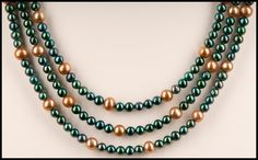 Teal and Gold Colored Freshwater Pearl Necklace by floweravenue, $45.00 Teal And Gold, Freshwater Pearl Necklaces, Pearl Color, Handcrafted Jewelry, Fresh Water, Natural Stones, Beading, Jewelry Design, Pearls