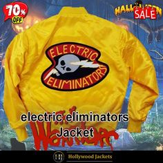 #Halloween Hot offer Get 70% #Movie The Warriors Electric Eliminators Yellow Bomber Satin Jacket. #HalloweenSale #Halloween #Sale #2021 #OOTD #Style #Cosplay #Costum #men #fashionstyle #women #jacket #shopnow #Clothes #satin #discountoffer #outfit #tvseris #onlineshopping #discount #buymypremium #celebrities #offers #fashion #movie