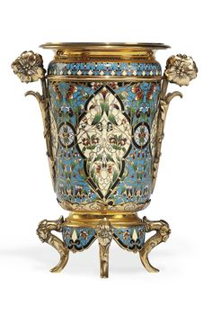 A FRENCH ORMOLU AND CHAMPLEVE ENAMEL VASE - LATE 19TH CENTURY: Possibly, in imitation of Chinese enamels flooding market, also perhaps Aesthetic + emerging Art Nouveau inspirations??