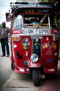 Custom Tuk-Tuk, Sri Lanka - bumper stickers are apparently a universal language!