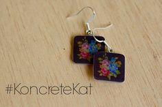 Flowers on Black Background Square Dangle Earrings by KoncreteKat