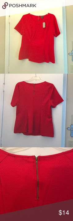 Plus Size Forever 21 Peplum Top Red peplum top, with zipper detail. Never been worn. New with tags. Smoke free home. Forever 21 Tops