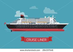 Beautiful modern flat design vector 'Cruise liner' printable poster or web banner template with black, red and white cruise transatlantic liner ship and clouds - stock vector
