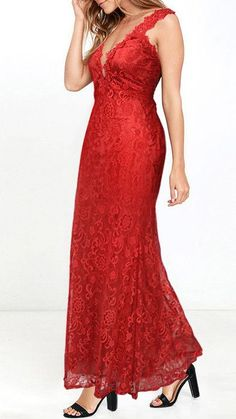 Backless V-neck Lace Long Sleeveless Plus Size Dress Fabulous Dresses, Sexy Dresses, Cute Dresses, Fashion Dresses, Party Dresses, Lace Maxi, Lace Dress, Prom Dresses Online, Special Occasion Dresses