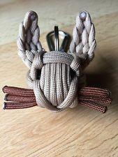 Paracord Schlüsselanhänger Hase mit Schlüsselring u Karabiner Beige Braun