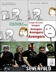 """""""Avengers Sevenfold""""..I love this. I love AVENGED SEVENFOLD and I love the avengers! Perfect combo haha"""