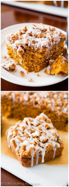Iced pumpkin coffee cake plus 50 more amazing pumpkin dessert recipes. Pumpkin Coffee Creamer, Pumpkin Coffee Cakes, Spiced Coffee, Pumpkin Dessert, Köstliche Desserts, Delicious Desserts, Dessert Recipes, Yummy Food, Pumpkin Recipes