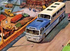 GM Detroit diesel ad with Greyhound Scenic Cruiser bus, Hot Rod Trucks, Old Trucks, Fire Trucks, Bus City, Volkswagen, Detroit Diesel, Car Posters, Vintage Trucks, Retro Vintage