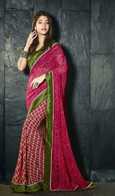Spruce up the ethnic girl next door look robed in this mehendi green and pink printed half n half saree. The block print and lace work appears to be like chic and excellent for any function. Upon request we can make round front/back neck and short 6 inches sleeves regular sari blouse also. #NewPrintedDesignerSarees
