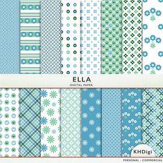 Ella - Blue and Green Digital Paper