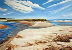 Drake's Island Beach Dunes breach in Wells, Maine  by A. La Vallee  oil on canvas