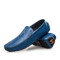 146305fb25 Aliexpress.com   Buy Mens Casual Shoes Genuine Leather Chaussures Men  Loafers Shoes 2015 H Mocassin Size 36 37 to 45 46 47 Navy Blue Gold Yellow  from ...