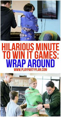 10 of the funniest minute to win it games ever! These are perfect for kids, for teens, for adults, or even at family reunion. These would be so funny to play with my work team or at my son's next birthday party! I can't wait to try Halloween Party Games, Christmas Party Games, Birthday Party Games, Halloween Games Adults, Birthday Games For Adults, Nye Party, Funny Christmas, Funny Birthday, Youth Group Games