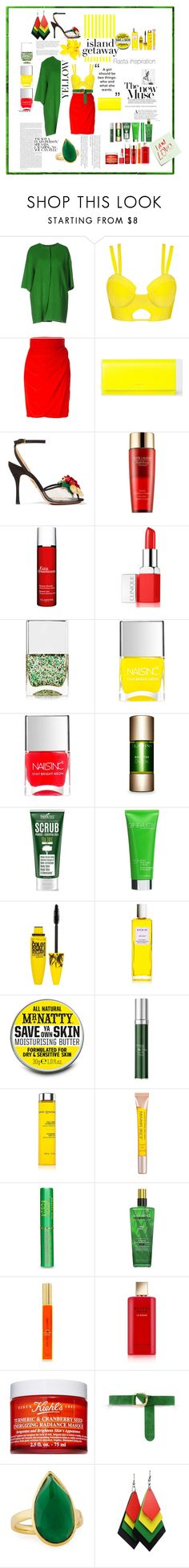 """""""Coloré"""" by liligwada ❤ liked on Polyvore featuring P.A.R.O.S.H., Versace, PS Paul Smith, Charlotte Olympia, Estée Lauder, Clarins, Clinique, Nails Inc., Cane + Austin and Maybelline"""