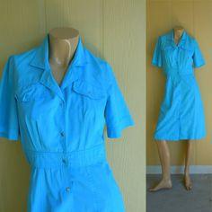 60s snap off dress . aqua blue cotton . small or xs  - buy it at www.nesteggvintage.etsy.com