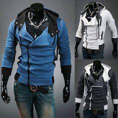Hot Assassins Creed Desmond Miles Hoodie Costume New Coat Jacket Cosplay Blue | eBay