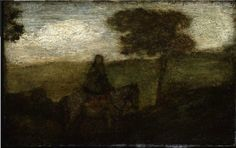 """Travelers at Dusk,"" Albert Pinkham Ryder, ca. 1870, oil on cigar box panel, 7 5/8 x 11 3/4"", Montclair Art Museum."