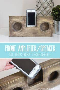 "DIY Wooden Phone Amplifier/Speaker (no cord or batteries needed) | via Make It and Love It...""And how does it work??  Well, have you ever set the speaker end of your phone into a bowl, to increase the volume and to help it resonate?  Same concept here.  There's a hole at the very bottom of the cell phone slot, that then leads to the ""speaker"" openings"" (my son uses a dixie cup or glass... this is MUCH nicer looking lol)"