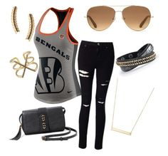 """""""Bengals"""" by tiffany-volkerding on Polyvore featuring NIKE, Miss Selfridge and Stella & Dot"""