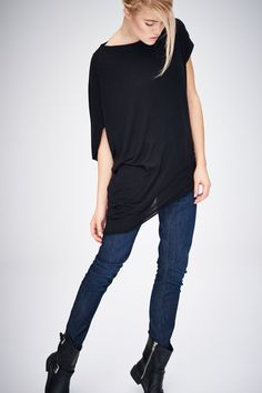 Asymmetrical Black Top/ Short Sleeved Blouse/ Black Looose Top/ Drape Blouse by AryaSense/ TKDR14BL