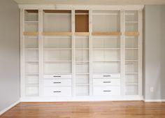 DIY BUILT-IN BOOKCASE REVEAL (AN IKEA HACK) – Studio 36 Interiors Ikea Billy Bookcase, Built In Bookcase, Bookshelves, Hemnes Bookcase, Bedroom Closet Doors, Bedroom Closet Storage, Diy Bedroom, Girls Bedroom, Closet Wall