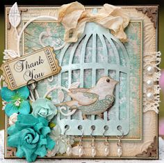 bird cage card, love the use of the beads at the bottom.