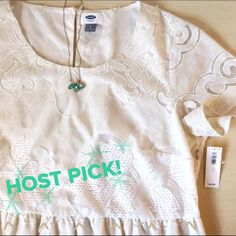 Old Navy Lace Dress My First Host Pick! So excited  Thank you!!!!Short sleeve cream lace dress. This one of the best quality Old Navy dresses I've seen. The lace has a beautiful, unique pattern to it and is just adorable all around.  I fell in love with this dress and planned on wearing it to a bridal shower but I've lost weight and it's just too loose on the top now. Never worn, perfect condition, still has tags. Old Navy Dresses Wedding