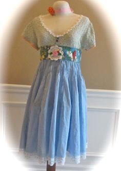 Boho Yellowbird Dress Shabby Sweet Crocheted Flowers Size Large/ XL. $95.00, via Etsy.