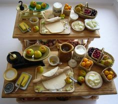 Fruit Pie making table 12th scale food dollhouse by Abasketof