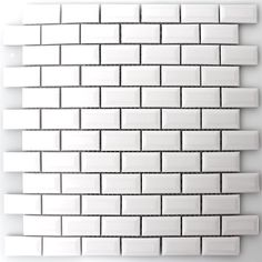 Für die Waschküche: Keramik Metro Mosaik Fliesen Mit Facette Weiss Glänzend