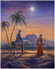Mary on a donkey and Joseph on the way to Bethlehem with the city on a hill in the distance and the star above
