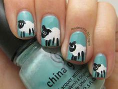 Sheep | 14 Insanely Cute Animal Nail Art